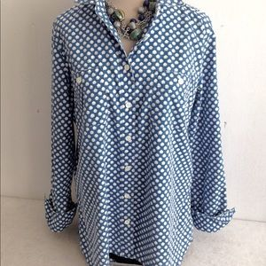 J. Crew Print Chambray Button Down Blouse Top